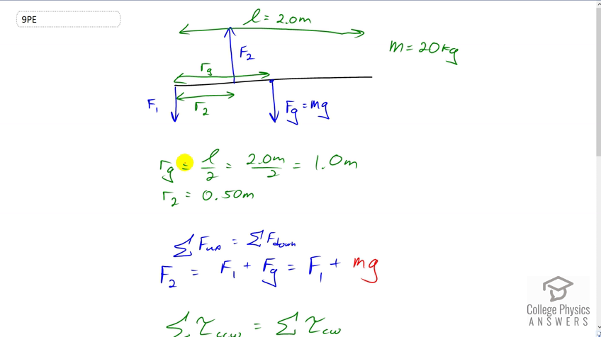 Openstax College Physics Solution Chapter 9 Problem 9 Problems Exercises